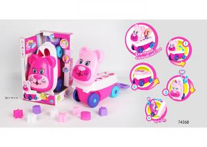 China Pink Building Blocks Educational Toys For Kids Age 3 Years / Animal Trolley Cart on sale