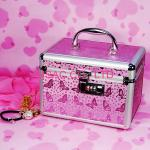 Butterfly Pink Lockable Vanity Case , Custom Professional Makeup Cases