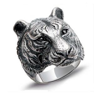 China Mens Retro Thailand 925 Sterling Silver Ring with Tiger Design (XH052020) on sale