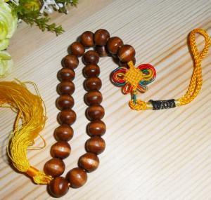 China wood beaded tag wood gift tag beads hanging decoration on sale