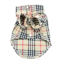 grid burberry style Pet Puppy Summer Shirt Pet Clothes T Shirt with button