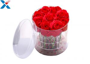 China Round acrylic flower box with lid 11 rose boxes can customized on sale