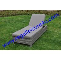 outdoor grey synthetic rattan lounger with waterproof cushion RLF-2463SB
