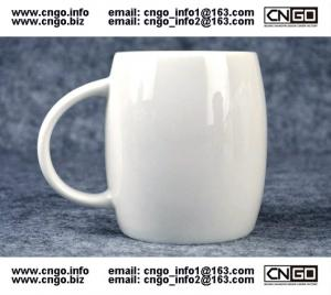 China Beer barrel white ceramic beer mug custom advertising LOGO for your design on sale