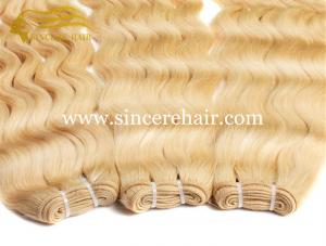 China Hot Blonde 24 CURLY Hair Extensions for Sale, 60 CM #613 Curly Remy Human Hair Weaving Weft 100 Gram / Piece For Sale on sale