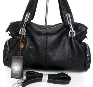 China New Style 100% Great Leather Black Shoulder Bag Handbag Purse #3025A  on sale