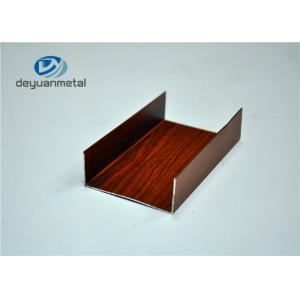 China Nature Alloy 6063 Wood Grain Aluminium Channel Frame For Hotel Decoration on sale