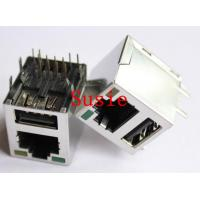 China 60 series rj45 add usb a size sheild connector with led 90 degree pcb jack on sale