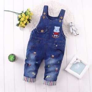 China Korean Style 100 Percent Cotton Kids Overall Jeans Cute Bear Pattern Medium Wash on sale