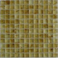 Decorative Glass Kitchen Mosaic Wall Tiles, Yellow Glass Mosaic Tiles For Fireplace