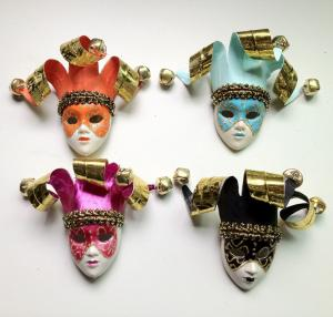 China Custom Funny Orange Venetian Mask Brooch For Cloth Decoration on sale