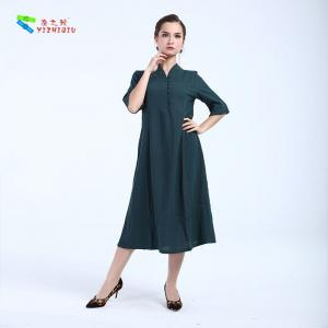 China Pure Color Cotton Chinese Dress Cheongsam One Piece Dress For Daily Wear on sale
