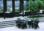 China Black 6 Seater Rectangular Rattan Dining Table And Chairs for Inn / Hotel And Household wholesale