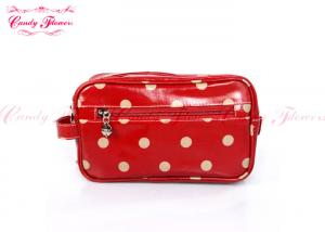 China Lovely red polka dot Personalized Makeup Bags travel cosmetic bags for women on sale
