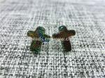 Dichroic Glass stud earrings colorful cross shaped fashion  for Women Jewelry by original factory wholsale supplier