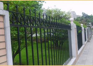 China Ornamental Pressed Spear Fence Panels Black Powder Coated For Institutions / Sports Stadiums on sale