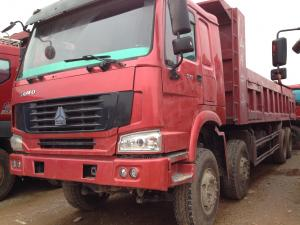 China Howo Strong Frame Single Axle Heavy Duty Commercial Trucks Left Steering 12 Wheels 8x4 Drive Type Red on sale