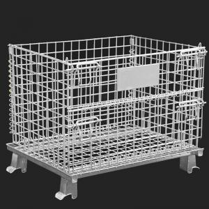 China Movable galvanized metal storage cage, folding anticorrosion wire mesh container on sale