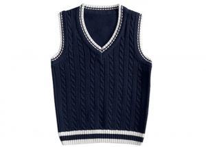 China Navy Blue School Uniform Sweater Vest , Childrens School Uniforms V Neck on sale