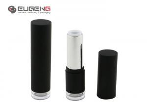 China Round Matte Black Plastic Empty Lipstick Containers With Lucid Color Code on sale