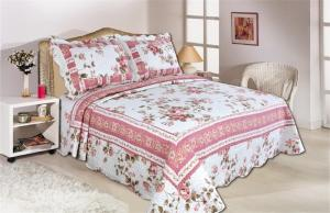Quality Pink Color Full Size Comforter Sets Home Textile Printed Quits With Frame for sale