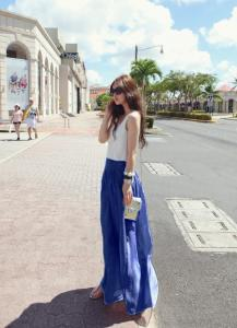 China 2013 Stylish Women's Long GAUCHO Trousers Dockers Wide leg Loose Chiffon Gauze Pants on sale