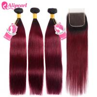China Silky Straight Ombre Remy Hair Weave Burgundy Color 3 Bundles With Lace Closure on sale