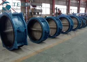 China Soft Seal API609 Butterfly Valve Bi - Direcitonal Bubble Tight Double Flange With Gear Actuator on sale