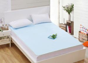 China Light Blue Cotton Terry Luxury Quilted Waterproof Mattress Covers for Home on sale