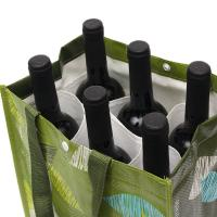 China Personalized Reusable Non Woven Wine Bags Collapsible 6 Bottle Wine Tote Bag on sale