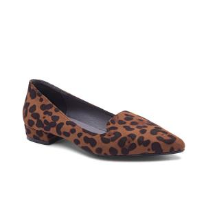 China Customized Leopard Print Suede Women Shoes Flats Low Heel Pumps For Working,Dating on sale