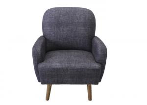 China Occasional Brown Upholstered Accent Chairs , Linen Grey Patterned Armchair on sale