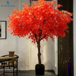 Decoration Red Faux Maple Tree / Artificial Outdoor Plants Customized Size