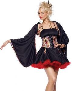 China Wholesale International Costume Plum Blossom Geisha in Black with XXS to XXXL made by Satin and Brocade on sale