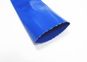 China Blue Pvc Layflat Hose Aging Resistance For Water / Light Chemical Discharge on sale
