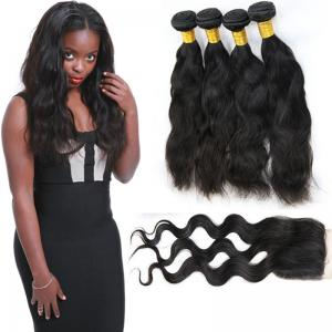 China 4 Bundles Of Malaysian Virgin Hair Extensions Clean Weft Natural Appearance on sale