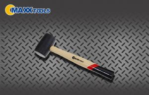 China Multi - Purpose Shockproof  Black Head Rubber Mallet Hammer With Wooden Handle on sale
