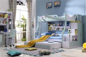 China hot sell children triple bed with ladder cabinet 3 colour model 5B11 on sale