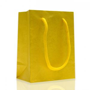 China Gift Yellow Kraft Paper Shopping Bags For Supermarket , Grocery , Cosmetic store on sale