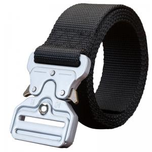 China OEM Silver Cobra Buckle Nylon Woven Webbing Fabric Blet Polyester Military Tactical Belt on sale