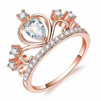 Hot gold crown ring,silver leaf zircon rings,elegant gold zircon rings for wedding and engagment