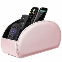 China Remote Control Holder Vegan Leather TV Remote Caddy Desktop Organizer 5 Compartments Fits TV Remotes Media Controllers on sale