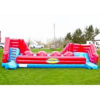China Red Balls Inflatable Sports Games Wipe Out Interactive Obstacle Course on sale