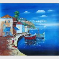 Framed Seascape Mediterranean Oil Painting Canvas Handmade By Palette Knife