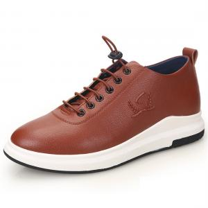 China Urban Sports Shoes Men's Fashion Leather Sneakers Taller 2.36 inches on sale