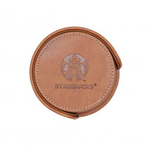 China Circular Fancy Stationery Items PU Leather Coasters For Home / Office / Cafe on sale