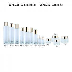 China 200ml 250ml Round Gradual Glass Lotion Bottles White Frost Empty Flat Shoulder Dropper Bottle Set on sale