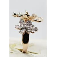 China 5 Flowers Design 18K Yellow Gold Ring VVS Diamond Ring KGR005498 on sale