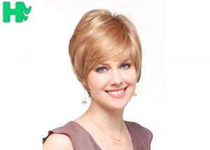 China Blonde Color Synthetic Hair Wigs , Professiona 8 Inch Straight Hair Wig on sale