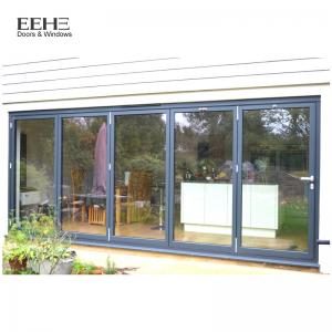 China Low E Black Aluminium Bifold Doors / Large Aluminium Folding Patio Doors on sale
